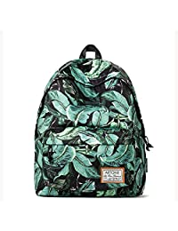 Artone Green Leaves Print Padded School Bag Daypack Casual Backpack With Laptop Compartment Black Green