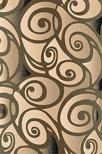 Charcoal 3X8 Carved Swirls Modern Geometric Runner Rug
