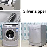 Waterproof Dampproof Dustproof Washing Machine Cover Washer Dryer Dust Guard Oxford Cloth Anti-aging Protector Silver Plated(XL,Zipper)