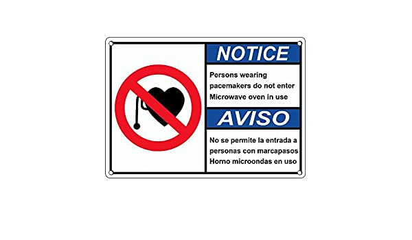 Weatherproof Plastic ANSI NOTICE Pacemakers Do Not Enter Microwave Bilingual Sign with English & Spanish Text and Symbol: Amazon.com: Industrial & ...