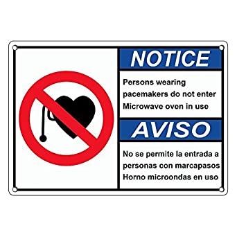 Weatherproof Plastic ANSI NOTICE Pacemakers Do Not Enter Microwave Bilingual Sign with English & Spanish Text