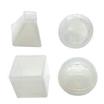 JuanYa - Moldes de Resina para moldes de Silicona (4 Unidades), diseño de Cubo con Forma de pirámide: Amazon.es: Hogar