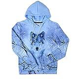 Uideazone Men Women Casual Graphic Print Forest Wolf Hoodie Sweatshirts Coat Plus Size