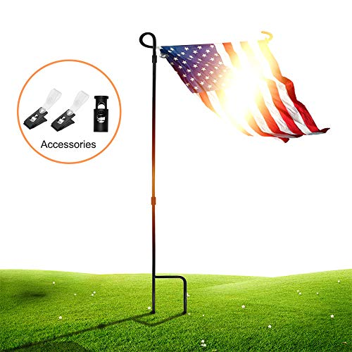 (SSRIVER Garden Flag Stand Pole Holder with Garden Flag Stopper and Anti-Wind Clip 36.22