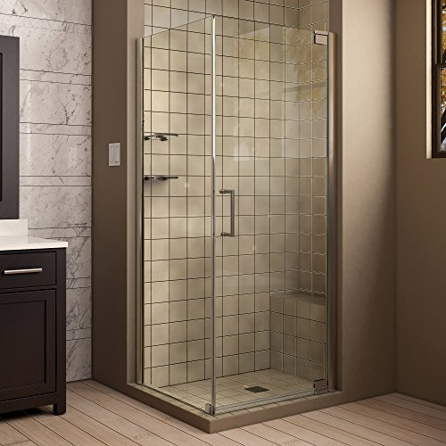 DreamLine Elegance 32 in. W x 30 in. D x 72 in. H Frameless Pivot Shower Enclosure in Brushed Nickel, SHEN-4130321-04 - Rectangle Shower Enclosures