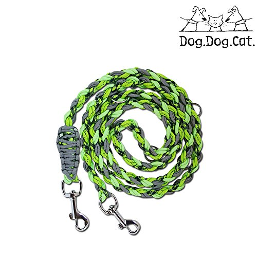 Para cord double ended Versatile hands-free dog walking or training leash (6 foot adjustable, Lime Green Reflective and Glow in the dark)