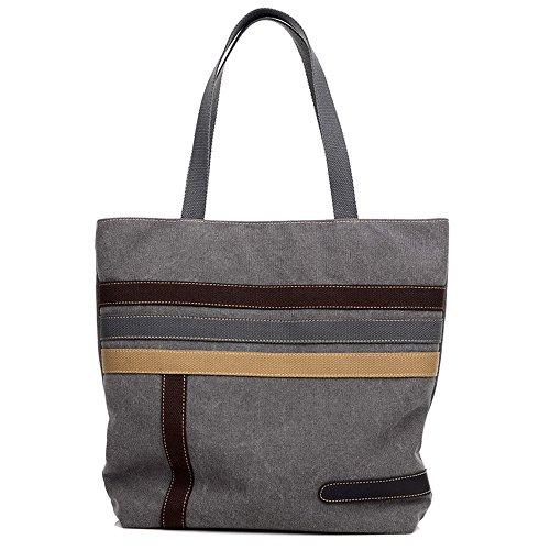 Canvas Baguette Handbag (WLE A027 Comfort Medium Size Grey Canvas Horizontal Stripes Pattern Design Waterproof Baguette Tote Shoulder Bags For Women Girls Ladies)