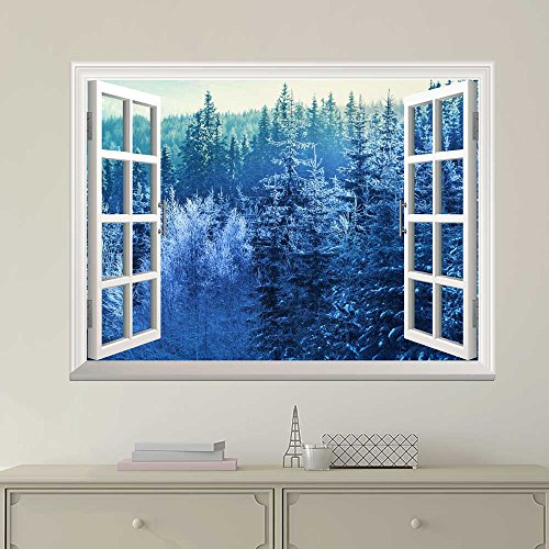 Wallpaper Large Wall Mural Series ( Blue Snowed Pine Tree Forest)