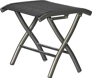 Reposapiés de jardín plegable plata de muebles / negro