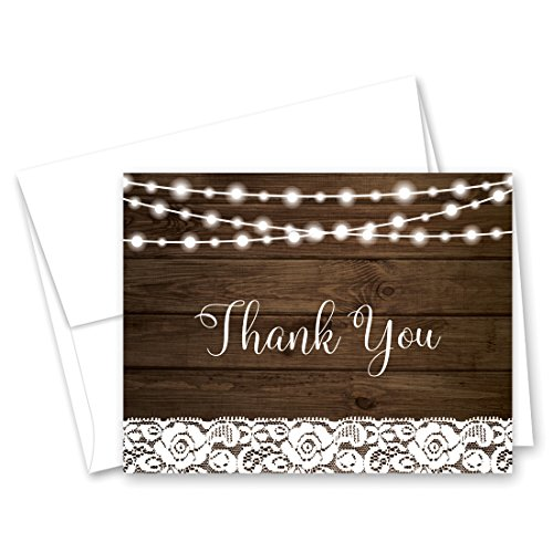 50 Lace on Rustic Wood Thank You Cards + Envelopes