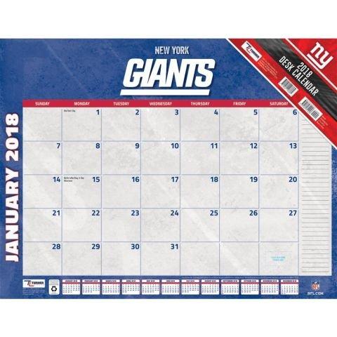 New York Giants 2018 Desk Pad Calendar 22X17