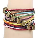 Winter's Secret Rainbow Color Wax Rope Weaving Ancient Bronze Tortoise Pattern Wrist Bracelet
