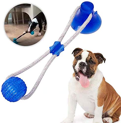TRIMAKESHOP Pet Molar Bite Toy, Multifunction Interactive Ropes Toys, Self-Playing Rubber Chew Ball Toy with Suction Cup, Teeth Cleaning Tool for Dogs Cats