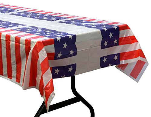 Iconikal All Purpose, Plastic American Flag Tablecloth - 52 x 72 Inch - 3 Pack