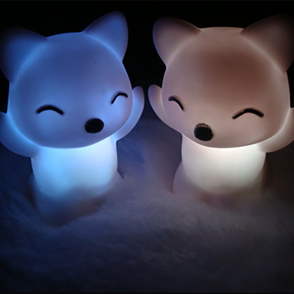 Kids Night Light, Cute Fox Silicone Night Light with Touch Sensor and Remote, Rechargeable 7-Color Changing Nightlight Lamp, Adjustable Brightness for Bedroom, Living Room (Random)