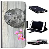 Hairyworm - BG0233 Guinea pig with pink flowers Acer Liquid Z220 leather side flip wallet cell phone case, cell phone cover with card slots, money slot, stand point and magnetic clasp to close. Acer Liquid Z220 case
