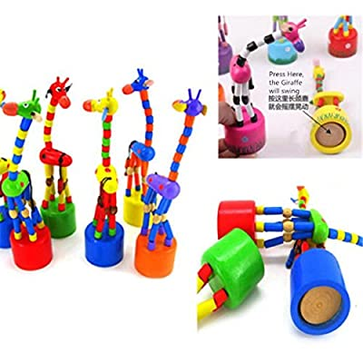 Sacow Musical Hand Bells, Dancing Stand Colorful Rocking Giraffe Wooden Toys Kids Intelligence Toy (Random Color): Toys & Games
