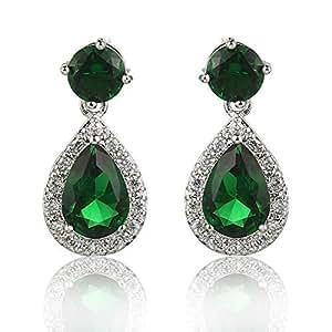 Meyome Teardrop Zirconia Earrings Emerald Color Crystal Wedding Bridal Earrings in Platinum White Gold Plated (Green)