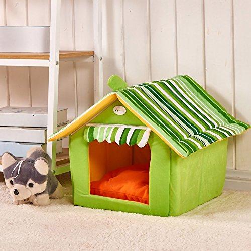 YQST Perrera Caliente para Mascotas Cama Felpa Suave para Mascotas Nido de Perro Plegable,Green,55x50cm