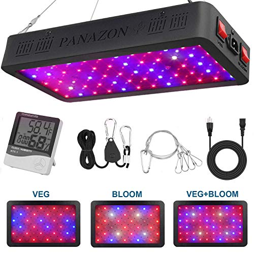 900W LED Grow Light Full Spectrum Plants Light for Indoor Veg and Flowers, Plant Growing Lamp with Thermometer Humidity Monitor and Adjustable Rope(10W LEDs 90Pcs)