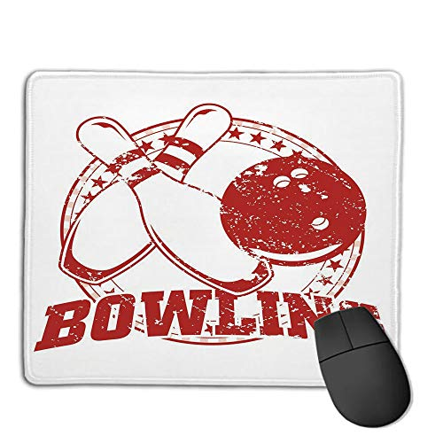 Computer Mouse Cushion and Natural Rubber Back and Cloth Surface,Bowling Party Decorations,Grunge Circle of Stars Vintage Distressed Emblem Design Typography,Red White,Applies to Games,Home, School,]()