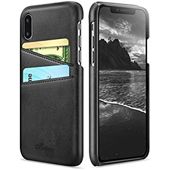 iPhone X Case, iPhone 10 Case, Ansiwee Wallet Phone Case Leather Slim Back Case Cover, iPhone X Wallet Slim Leather Back Case With Credit Card Holder for Apple iPhone X (Black)
