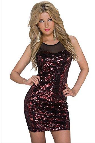 Femmes Noir et rouge à paillettes Robe bodycon Club Wear Taille UK 8–10EU 36–38