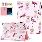 iPad 9.7 Case 2018/2017, iPad 6th/5th Gen Case with Pencil Holder, Dteck Premium Leather Folio Stand Case, Auto Wake/Sleep Protective Cover for iPad 9.7 2018/2017, iPad Air 1/2, Pineapples & Flamingo