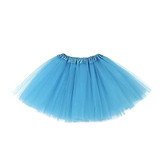 QinMM Niñas y Chica Falda Vestido Tutú Ropa de Baile Fiesta Casual (Azul)