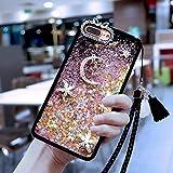 Case Bling for XiaoMi 5X, SevenPanda XiaoMi 5X Luxury Bling Moon Stars Rhinestone Soft Rubber Cute Beauty Shiny Liquid Star Glitter Bumper for Girls Women with Crystal Neck Lanyard - Pink