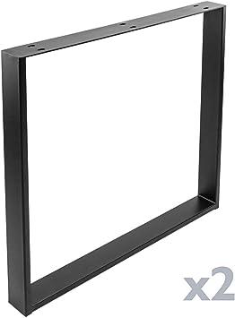 PrimeMatik - Pies rectangulares para Mesa Patas en Acero Negro 800 ...