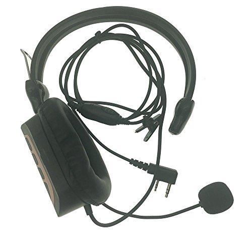(DONG Walkie Talkie Earpiece Boom Mic Overhead Single-muff Noise Cancelling Headphone for Kenwood BaoFeng Puxing Wouxun Quansheng Hyt Weierwei Baodeeng TYT Procter Walkie Talkie Radios 2-Pin)