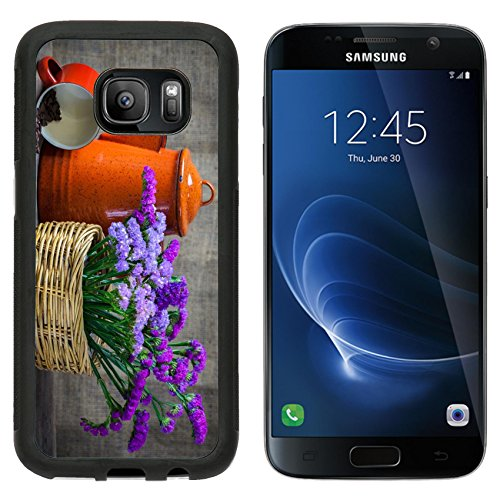 (Luxlady Samsung Galaxy S7 Aluminum Backplate Bumper Snap Case IMAGE ID: 24077437 Red teapot place on wooden table with purple flower in wooden basket)