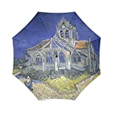Custom Vincent van Gog Orville church Compact Travel Windproof Rainproof Foldable Umbrella
