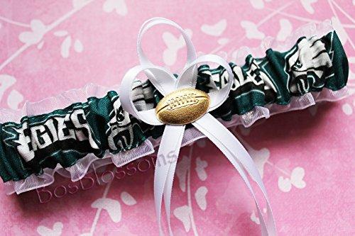 - Customizable - Philadelphia Eagles fabric handmade into bridal prom white organza wedding garter with football charm