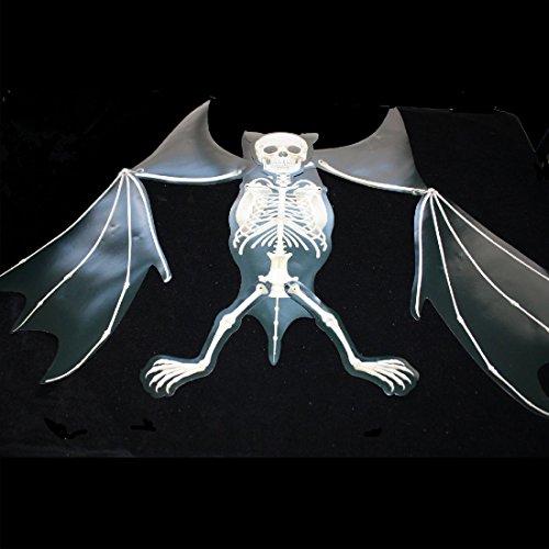 Big Jointed Gothic MUTANT FREAK SKULL SKELETON VAMPIRE BAT Horror Decoration-5ft