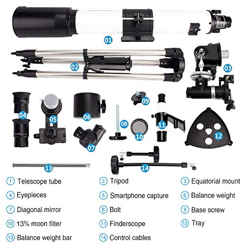 Telescope 80EQ Refractor Scope - 80mm Aperture and 700mm Focal Length, Multi-Layer Green Film, with Digiscoping Adapter for Photography and 13 Percent Transmission Moon Filter