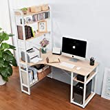 ModernLuxe Computer Desk with 5 Shelf Wood Laptop Table Office Workstation Writing Table Study Desk (Oak)
