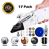 Handheld Sewing Machine for Beginners - CocoX Portable Mini Sewing Machine Stapler Cordless with Sewing Threads, Needles, Threader, Scissor, Tape Measure, Safety Pins - Quick Stitch for Denim Clothes