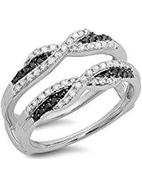 050 carat ctw 14k gold black white diamond ladies swirl wedding enhancer guard - Wedding Ring Enhancers
