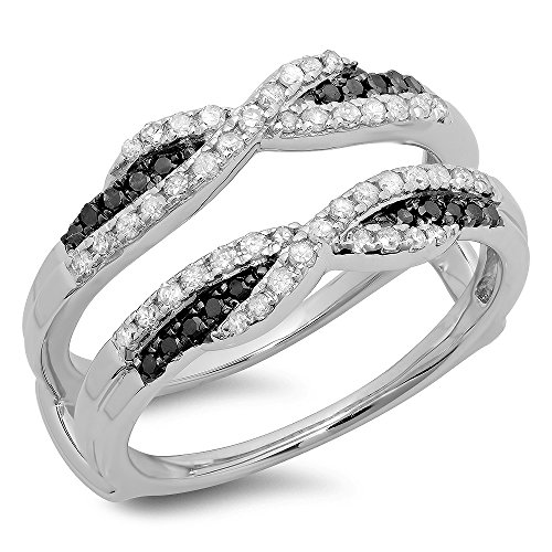 0.50 Carat (ctw) 10K White Gold Black & White Diamond Wedding Guard Double Band 1/2 CT (Size 7) by DazzlingRock Collection