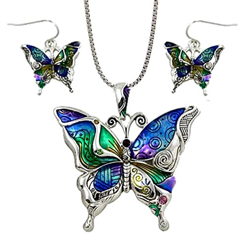 DianaL Boutique Colorful Butterfly Pendant Necklace and Earrings Set with 24 Chain Gift Boxed Fashion Jewelry