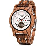 Mens Wooden Mechanical Watches Multifunction Date & Chronograph Business Luxury Wood Watch for Men