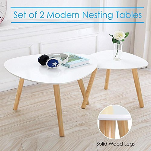 Popamazing Modern Nest Of Tables White Gloss Wood Coffee Table Sofa Side End  Table Living Room Part 93
