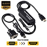 VGA to HDMI Cable, VGA to HDMI Adapter Cable with Audio for Connecting Old PC, Laptop with a VGA Output to New Monitor, Display, HDTV with HDMI Input(Male to Male)