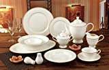 Royalty Porcelain 57-pc Banquet Dinnerware Set for 8, 24K Gold Premium Bone China (5868-57) For Sale
