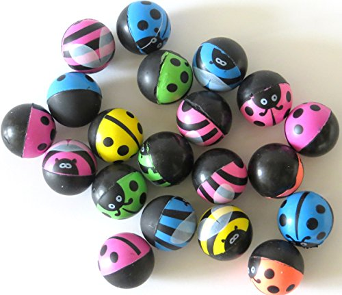 Edison Novelty Bumble Bee and Lady Bug Hi Bounce Balls (20 Per Order) 25mm ()