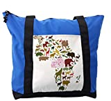 Lunarable Africa Shoulder Bag, Continent Map with Animals, Durable with Zipper
