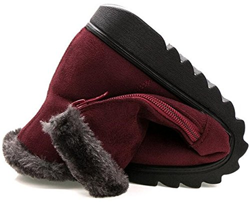 DADAWEN Side Red Lining Women's Warm Winter Zipper Snow Boots Fur Dark xttr8w