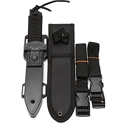 BOffer Scuba Diving Knife - Black Tactical Sharp Blade knives - Divers dive tool with 2 Types Sheaths,Sawing Edge and 2 Pairs Leg Straps - Best for Snorkeling,Hunting,Survival Rescue and Water Sports.